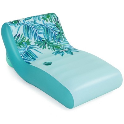 H2OGO! UPF 50+ Luxury Fabric Covered Inflatable Swimming Pool Relaxation Lounger Float with Cup Holder and Removeable Fabric Cover