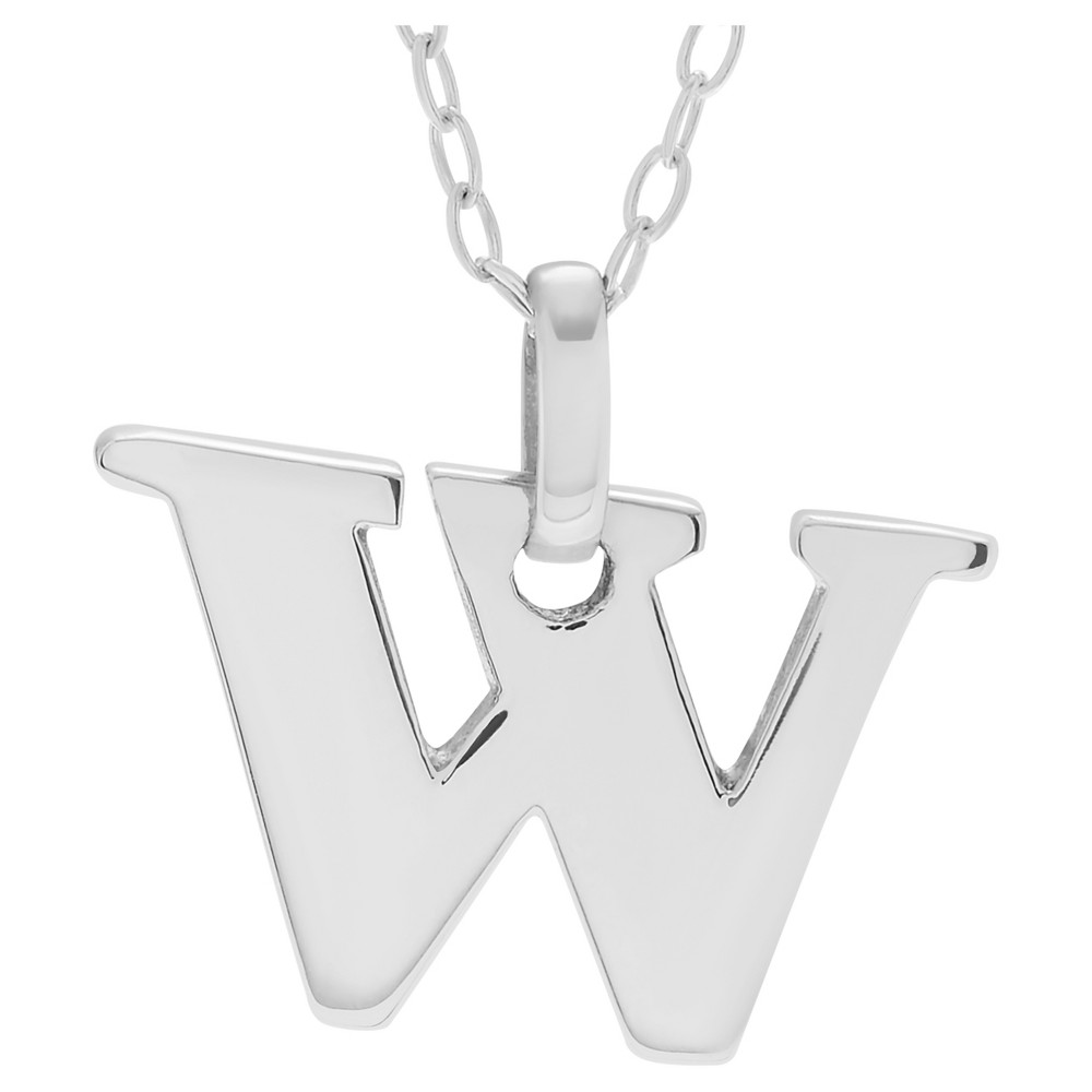 Women's Journee Collection Initial Charm Pendant Necklace in Sterling Silver - Silver, W (18), Silver Letter - W