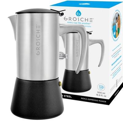 GROSCHE Milano Steel Stainless Steel Stovetop Espresso Maker Moka Pot Home Espresso Coffee Maker