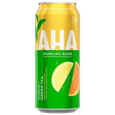 AHA Citrus + Green Tea Sparkling Water - 16 fl oz Can