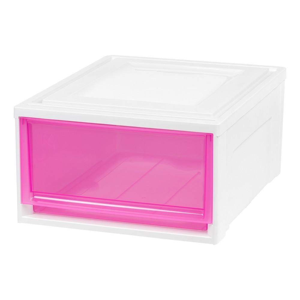 Iris Medium Stacking Plastic Storage Drawer - 3pk, White With Pink Doors
