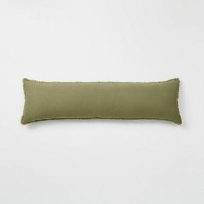 Lumbar Heavyweight Linen Blend Throw Pillow Moss Green - Casaluna™