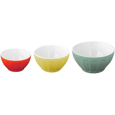 GoodCook OvenFresh Nesting 3 Piece Kitchen Stoneware Food Prep Mixing Serving Bowl Set with 5 Cup, 8 Cup, and 14 Cup Capacity Bowls, Multi Color
