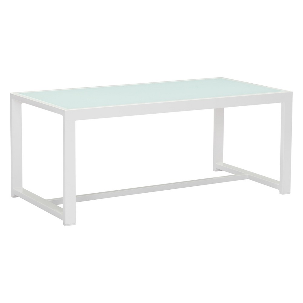 Modern Aluminum and Frosted Tempered Glass Coffee Table White - ZM Home