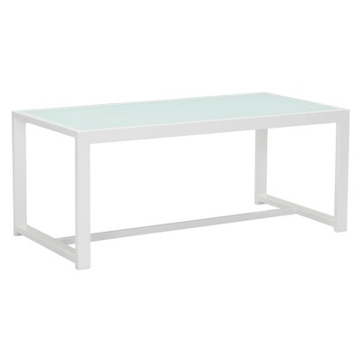 Modern Aluminum And Frosted Tempered Glass Coffee Table White   ZM Home
