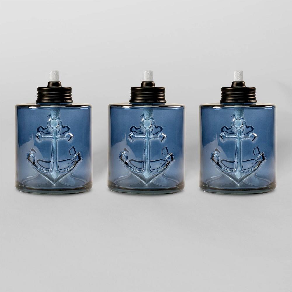 "Image of ""Tiki Brand 5.5"""" Set Sail Glass Table Torch Blue 3pk"""