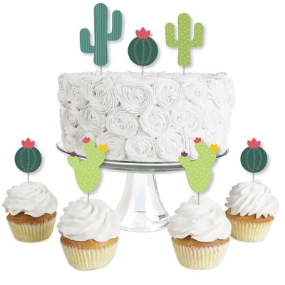 Big Dot of Happiness Prickly Cactus Party - Dessert Cupcake Toppers - Fiesta Party or Fiesta Birthday Party Clear Treat Picks - Set of 24