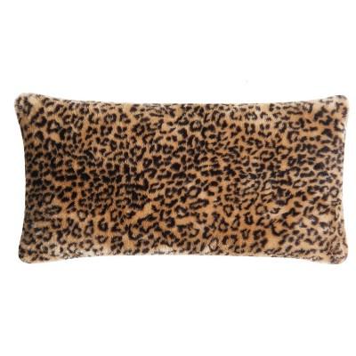 Christian Siriano Tahiti Cheetah Faux Fur Bolster Pillow Brown