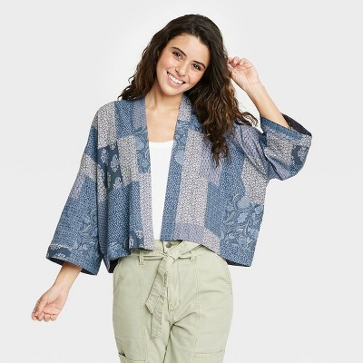 Women's Patchwork Cropped Kimono Jacket - Universal Thread™ Navy