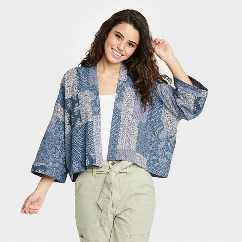 Women's Patchwork Cropped Duster Jacket - Universal Thread™ Navy - image 1 of 2