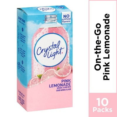 Crystal Light On The Go Natural Pink Lemonade Drink Mix - 10pk/0.13oz Pouches
