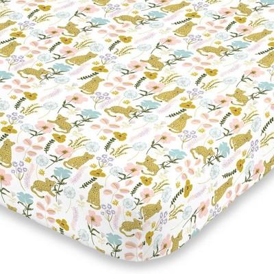 NoJo Cheetah Flower Mini Crib Sheet