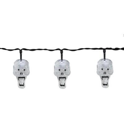 Northlight 10 White Skull LED Halloween Lights - 5.75 ft Black Wire