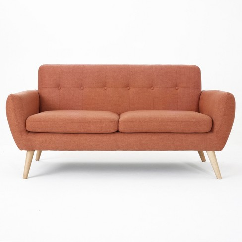 Josephine Mid Century Modern Petite Sofa Burnt Orange - Christopher Knight  Home