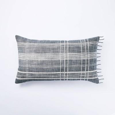 Woven Plaid Lumbar Throw Pillow Blue - Threshold™ designed w/ Studio McGee