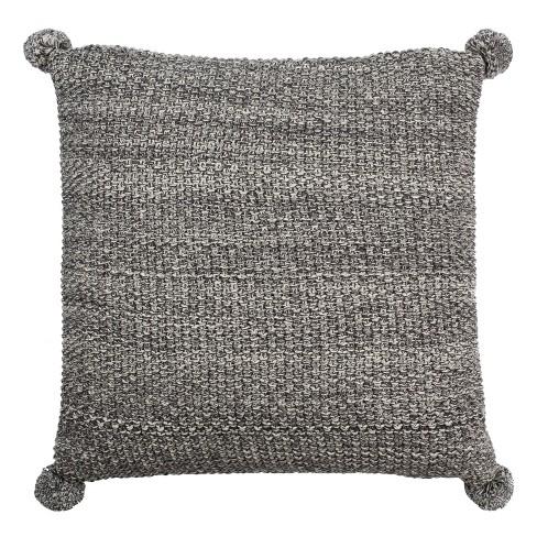 Pom Pom Knit Square Throw Pillow Dark Gray - Safavieh - image 1 of 3