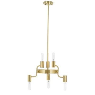 "20.5"" 6-Light Tubular Chandelier (Includes Light Bulbs) Gold - Cresswell Lighting"