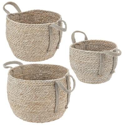 mDesign Woven Seagrass Braided Home Storage Basket Bin, Set of 3