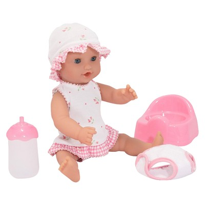 Melissa & Doug® Mine to Love Annie 12-Inch Drink and Wet Poseable Baby Doll With Potty, Bottle, Pacifier, Diaper, Dress