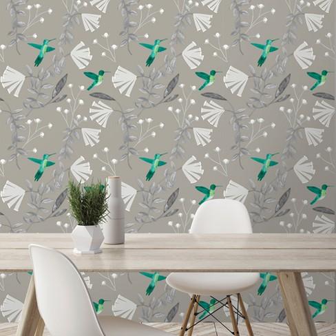 Hummingbirds Mirage Beluga Wallpaper Devine Color