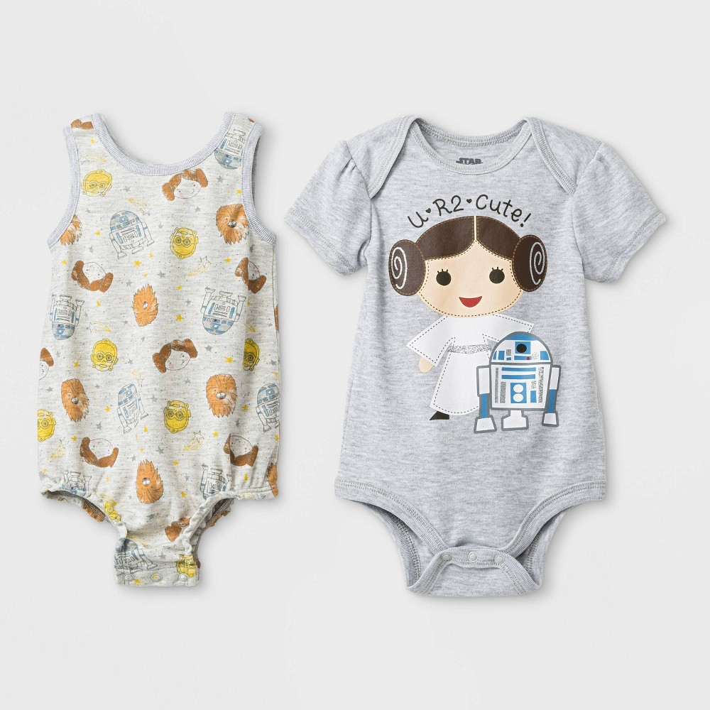 Baby Girls' 2pk Star Wars Princess Leia and Droids Bodysuit - 3-6M, Multicolored
