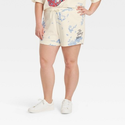 Women's Rolling Stones Americana Graphic Jogger Shorts - Off-White