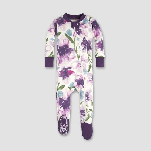 Burt's Bees Baby® Baby Girls' Watercolor Daylily Floral Organic Cotton Sleeper - Purple - image 1 of 2