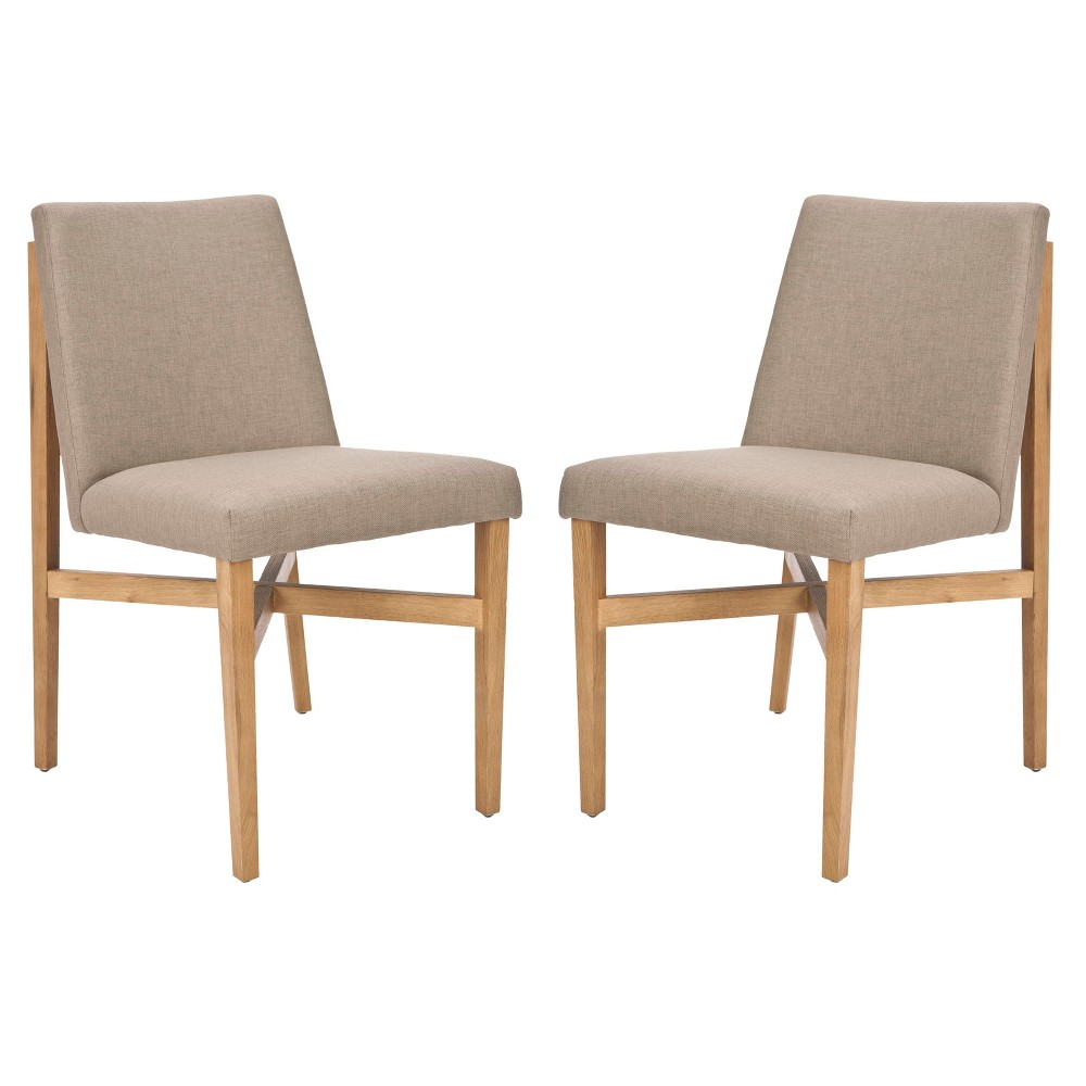 Duncan Side Chair Wood/Olive (Set of 2) - Safavieh, Dark Taupe