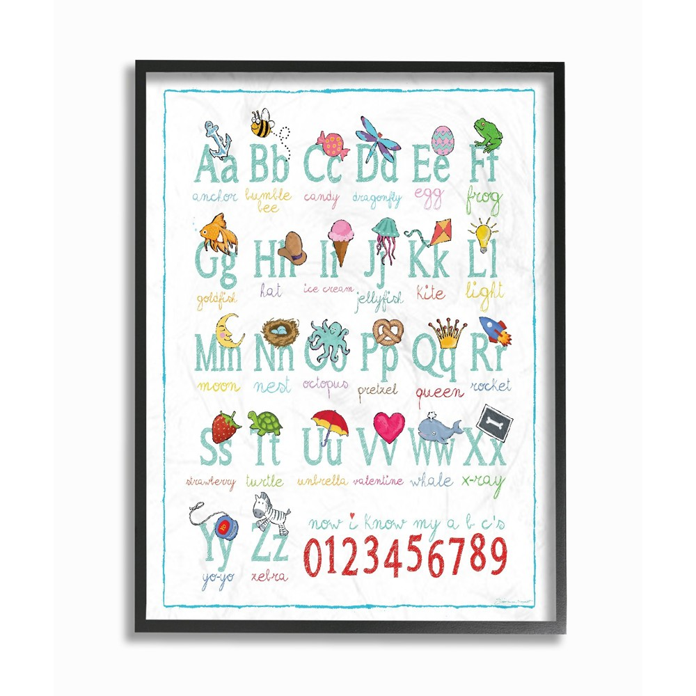 Abcs 123S Song and Icons Oversized Framed Giclee Texturized Art, Multicolored