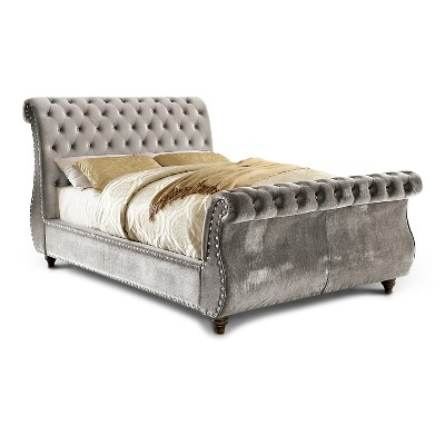 Adeline Modern Padded Fabric Sleigh Queen Bed Gray - HOMES: Inside + Out