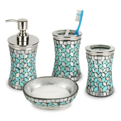 4pc Seafoam Glass/Metal Bath Accessory Set for Vanity Counter Tops Silver - Nu Steel