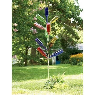 62  Metal Bottle Tree Garden Stake - Evergreen