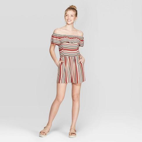 Women's Striped Short Sleeve Off the Shoulder Flounce Top Romper - Xhilaration™ Khaki - image 1 of 2