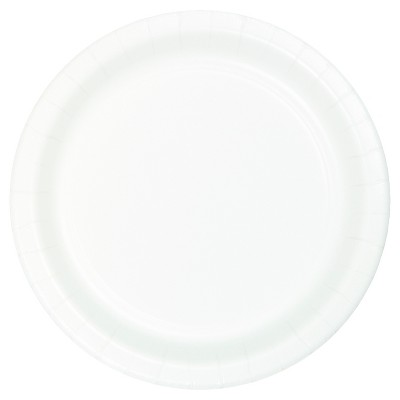 "7"" Round 60ct Disposable Snack Plate White - Spritz™"