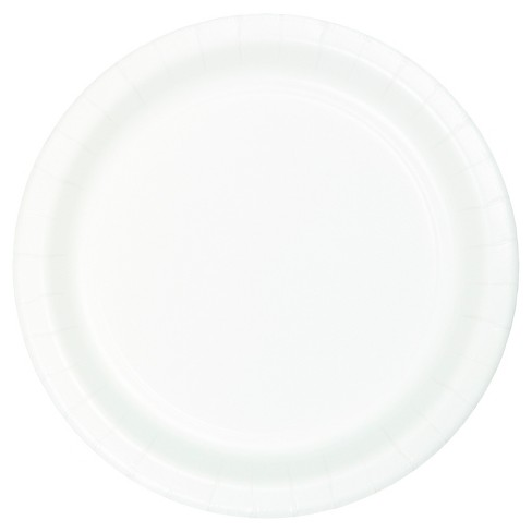"7""Round 60ct Disposable Snack Plate White - Spritz™ - image 1 of 1"