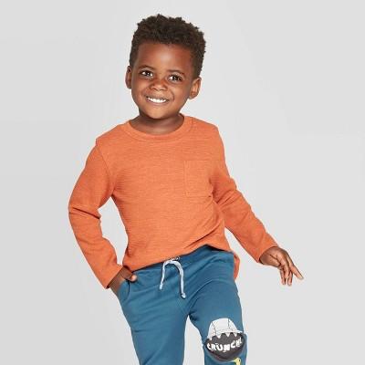 Toddler Boys' Ottoman Crew Long Sleeve T-Shirt - Cat & Jack™ Dark Orange 12M