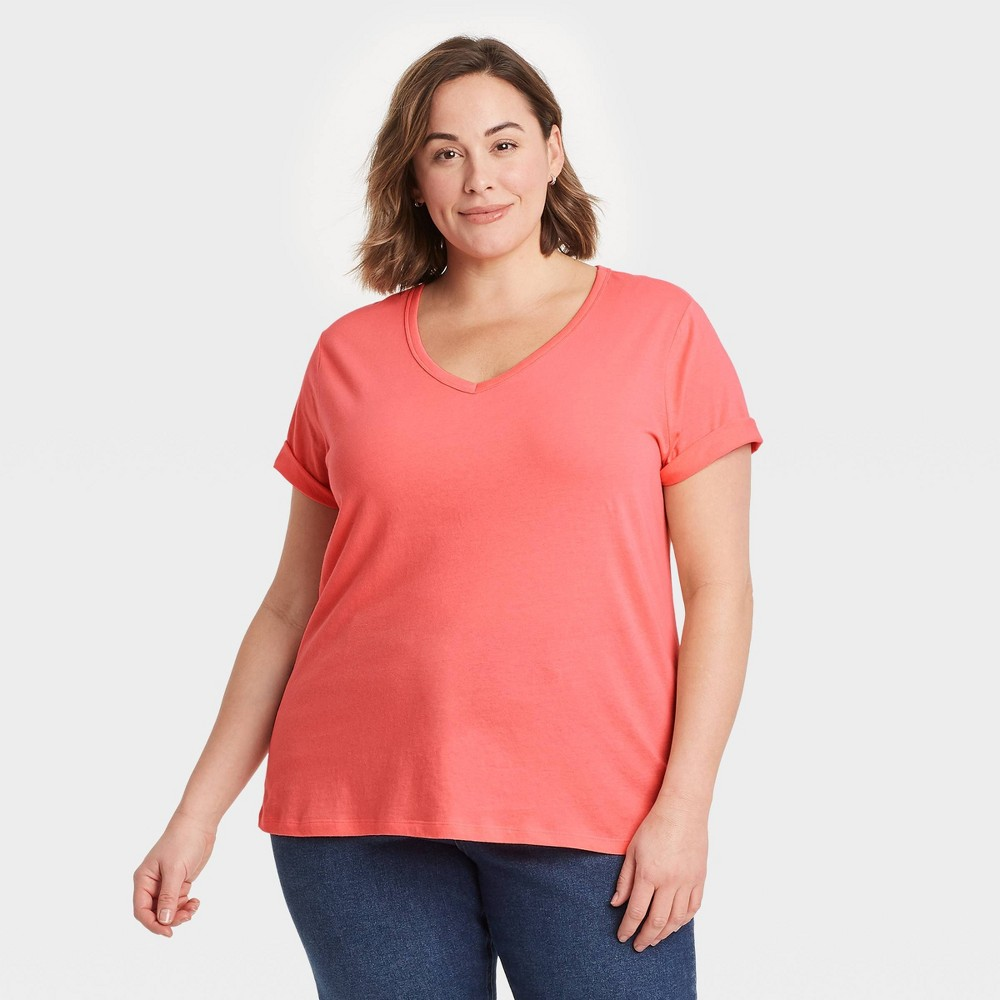 Women 39 S Plus Size V Neck Essential Slim Fit T Shirt Ava 38 Viv 8482 Peach 1x