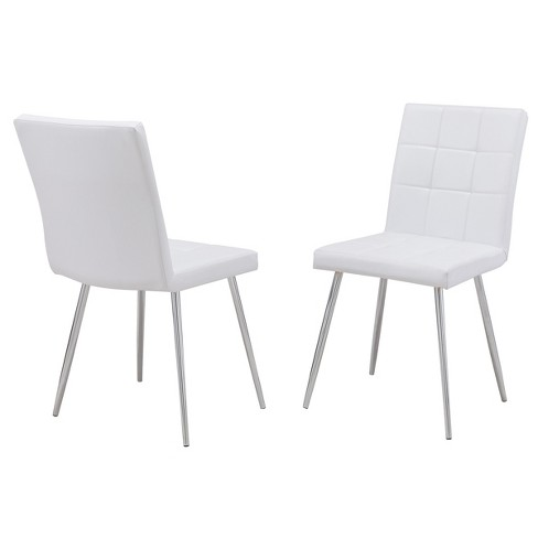 Rumi Dining Chair Set of 2 White/ Chrome - Carolina Chair and Table - image 1 of 4