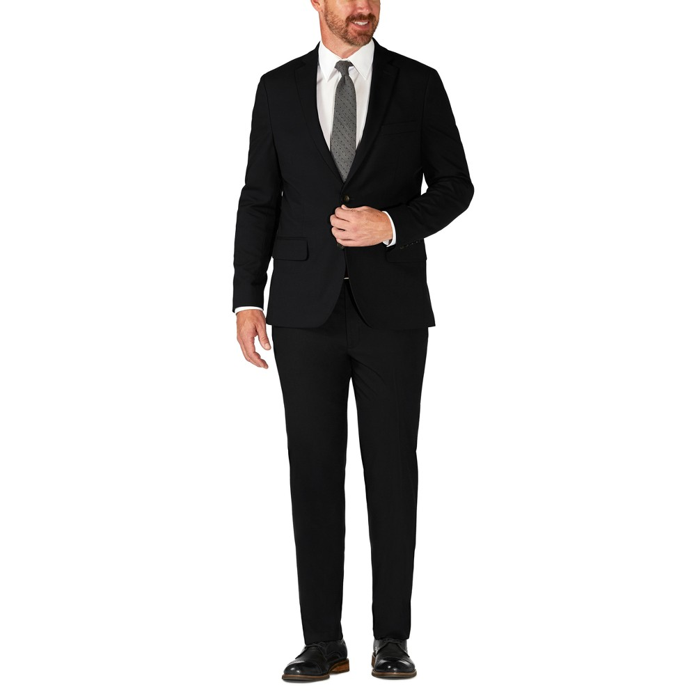 Haggar H26 Men's Big & Tall Tailored Fit Premium Stretch Suit Jacket - Black 44R