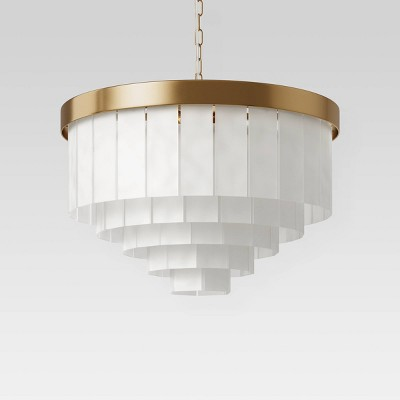 Large Frosted Acrylic Chandelier Brass - Opalhouse™