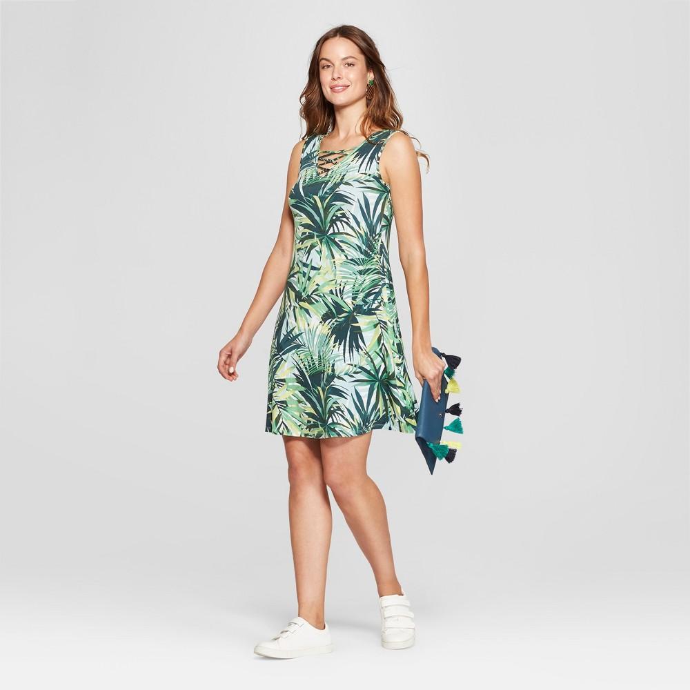 Image of Women's Floral Print Cross Neck Swing Dress - Spenser Jeremy - Green M, Size: Medium