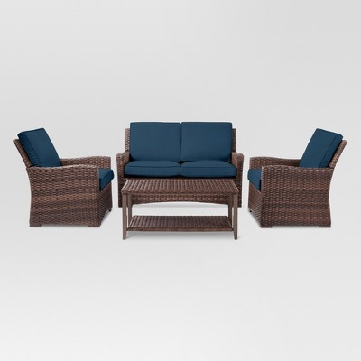 Halsted 4pc Wicker Patio Furniture Set - Navy - Threshold™