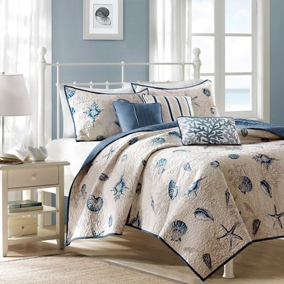 6pc Rockaway Quilted Coverlet Set Blue