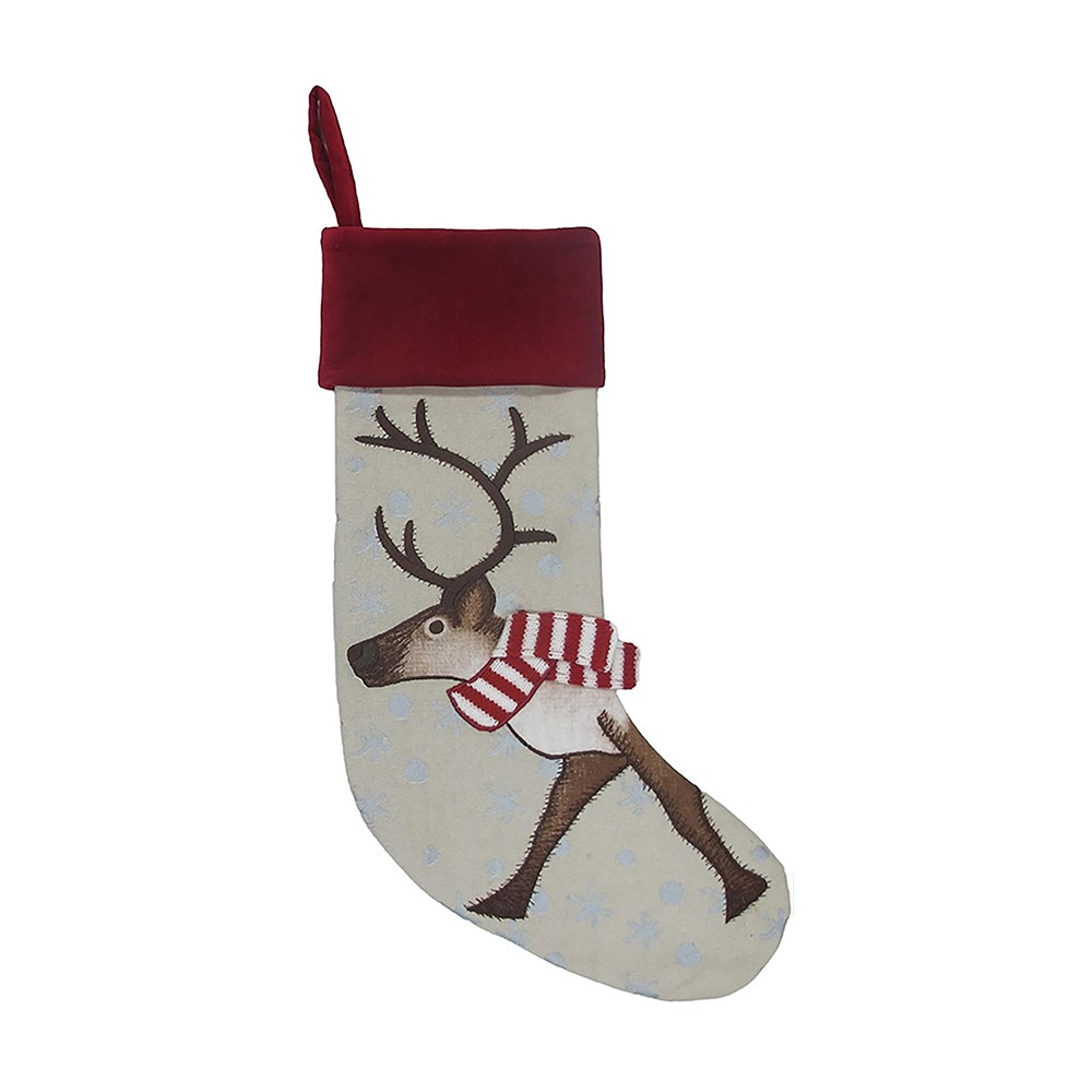 Reindeer with Red Cuff Christmas Stocking - Wondershop, Light Brown