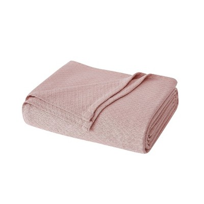 King Deluxe Woven Cotton Bed Blanket Blush - Charisma