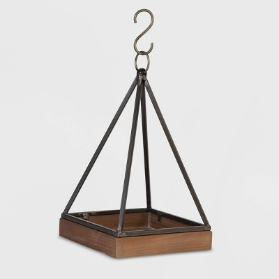 17  Square Pyramid Hanging Plant Wood Tray Black - Foreside Home & Garden