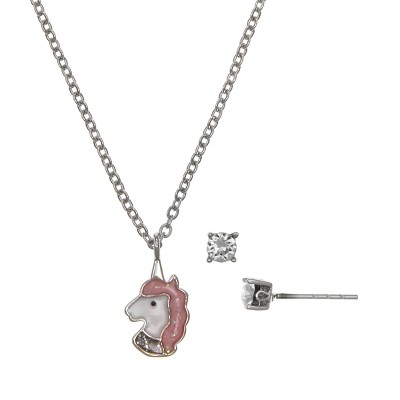 FAO Schwarz Fine Silver Plated Unicorn Pendant Necklace and Earring Set
