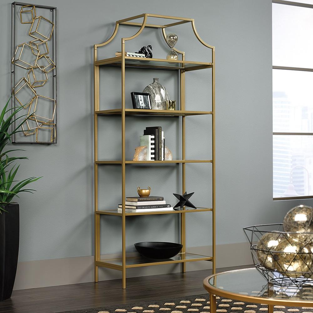 "Image of ""70.866"""" International Luxury Bookcase Satin Gold Finish - Sauder, Clear Gold"""