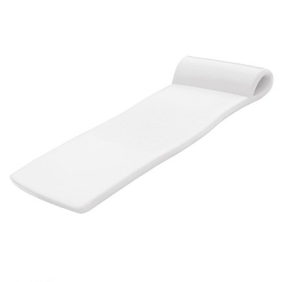 TRC Recreation Sunsation 70 Inch Full Size Foam Raft Lounger Swimming Pool Float with Pillow Headrest for Pool or Lake, White