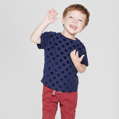 Toddler Boys' Texture Dot Short Sleeve T-Shirt - Cat & Jack™ Navy 2T